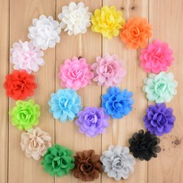 "Wholesale Diy Chiffon Flowers Flat Back - Wholesale- 300pcs lot Wholesale girls DIY 2 "" Mini Chiffon flowers Flat Back for hair headband hairclips 20Colors free shipping TH50"