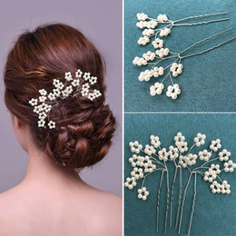 Wholesale clip fascinators - Vintage Pearls Wedding Hair Accessories Flower Wedding Church Rhinestone Hair Accessories With Brooch Hairpin Clip Bridal Flower