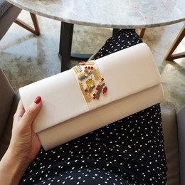 Wholesale Cheap Envelope Clutches - New Arrivals 2017 Elegant Pale Apricot Black Two Color Bridal Bags Cheap Gold Beads Handbag For Evening Wedding Party High Quality EN8051