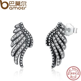 Wholesale Sterling Silver Phoenix Charm - BAMOER Authentic 100% 925 Sterling Silver Majestic Feathers Phoenix-Wing Stud Earrings With White Clear CZ PAS426