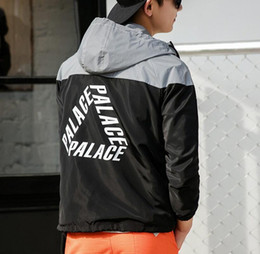 Wholesale Jacket Hoodies For Men - 3M Reflective Jacket Palace Skateboards Hoodies Jacket Men Patchwork Rib Sleeve Fashion Winbreaker For Men Hip-hop Palace Jacket