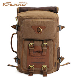 Wholesale Creeper Bags - Wholesale- KAUKKO vintage men's backpacks rucksack canvas shoulder bags luggage travel creeper backpack bag