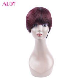 Wholesale Remy Hair Dark Wine - Human Hair Wigs Bob 1B 99J Burgundy Ombre Short Bob Wine Red Wig Straight 10 inch Human Bob Hair For Women