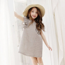 Wholesale National Children - Girls dresses summer children ruffle fly sleeve A-line dress national style kids dots printed dress children cotton clothes A0510