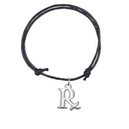 Wholesale Stainless Steel R Jewelry - Mixed Colors Handmade Adjustable Wax Cord Bracelets Bangles Joint Silver Plated Letter R Charm Bracelet Personalized Jewelry