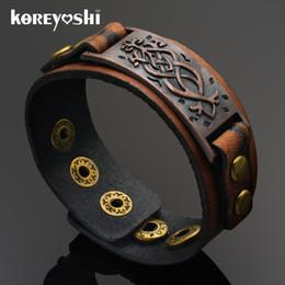 Wholesale Genuine Leather Wrap Bracelet - Wholesale-Punk Unisex Wide Rivet Genuine Leather Bracelet Mens Womens Wrap Bracelet Bangle homme Retro Khaki Color 2016 Fashion Jewelry