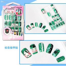 Wholesale Nail Stickers Girls - Wholesale-24 pcs set Anime Hatsune Miku Cosplay Nail Sticker Fake Fingernails fake False Nails Art,Salon Makeup Set ,Girl Gift Free