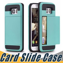 Wholesale Case Iphone 5c Card - Top Quality Dual Layer Card Slide Case Hybrid Armor Case For iPhone 6 6S 7 8 Plus 5 5S SE 5C Samsung S8 S7 Plus S5 Note8