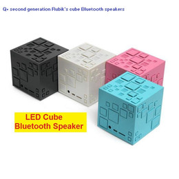 Wholesale Mini Cube Speaker Bluetooth - New Magic Cube Wireless Bluetooth Speaker With LED Flash light Support SD Card Portable 2 generation Q Plus Rubik's cube