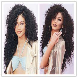 Wholesale Celebrity Body Wave - 300 density Celebrity human hair wig loose body wave Hair Wig Natural black 1B color with side bangs pelucas black women full wigs