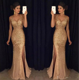 Wholesale Long Dress Import - Luxury 2017 Crystal Beaded Prom Dresses Long Mermaid Style Side Split Deep V-Neck Imported Party Dress Formal Evening Gowns