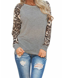 Wholesale Loose Long Tops - Fashion 2017 New Women Ladies Spring Autumn Long Sleeve Leopard Loose Casual Tees Tops T Shirt 3 Colors Plus Size S-2XL