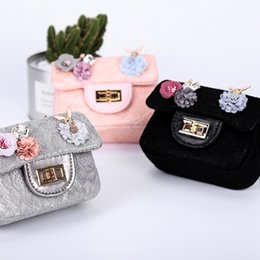 Wholesale Satchels Princess - Sweet New 2017 Girls Bags Lace Flower Purses Shoulder Bags Korean Princess Leather Bag Satchel Bag Girls Backpacks Kids Bag Gifts A7096