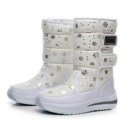 Wholesale Super Platform Boots - Wholesale-2016 women waterproof snow boots snowflake cotton super warm shoes women's winter platform ankle boots