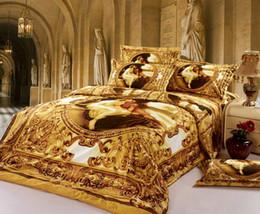 Wholesale 3d Oil Painting Bedding 4pcs - Wholesale- Luxury Europe 3D oil Painting Queen size Golden Bedding Set Cotton 4PCS Duvet Cover set Sheet Bedspread housse de couette cama