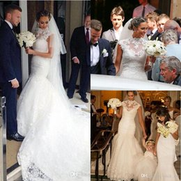 Wholesale Collar Neckline Wedding Dress - 2017 full lace wedding dresses High Neck Sheer Neckline Mermaid Wedding Dress Cap Sleeves Sweep Train Elegant Vintage Beach Bridal Gowns