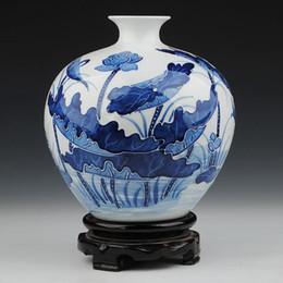 Wholesale Antique Blue Ceramic Vases - Blue and White Porcelain Chinese Elegant Tabletop Vase with Embossed Lotus Pool Painting Decoration ZDV-M002SL