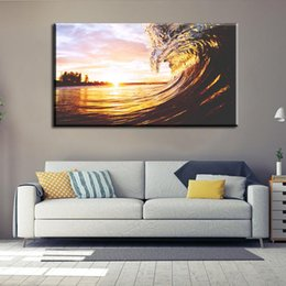Wholesale Seascape Canvas Prints - Large Canvas Oil Paintings Wall Paint Umframed Living Room Bedroom Decoration Spray Wall Prints The Wave Sunset Scene Paintings 60*60Cm