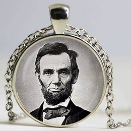 Wholesale President Plate - Abraham Lincoln pendant. President of the United States necklace. Lincoln, Famous people jewelry, sliver plated,christmas