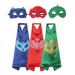 Wholesale Kids Eye Patches - 70*70Cm New Arrival Halloween Costumes Kids Cape Clothes Super Hero Two Layers Capes With Eye Patches Blinkers Halloween Party Decoration