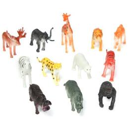 Wholesale Plastic Animal Figures Set - 12PCS set Plastic Zoo Animal Figure Tiger Leopard Hippo Giraffe Kids Toy Lovely Animal Toys Set Gift For Kids