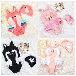 Wholesale Girls Swan Sets - INS Printed One-Piece Swimsuits Girl Cartoon Bathing Suits Kid Black Swan Parrot Flamingo Swimwear One-Pieces Swimming Cap Clothing Set H225
