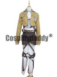 Wholesale Levi Cosplay Costume - Attack On Titan Shingeki No Kyojin Cosplay Levi Eren Scouting Legion Costume Cloth Ver H008