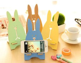 Wholesale Pig Rabbit - Wooden Rabbit Phone Holder Lovely Cellphone Pig Bear Bracket Mount Stand Desktop for iPhone Samsung Universal