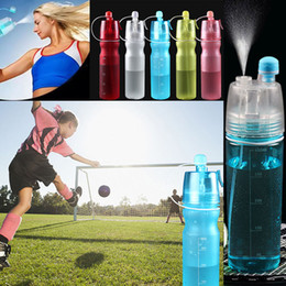 Wholesale Water Spray Bottles Wholesale - NEW Creative Button Water Bottles Mist Spray Bottle Cup 450ML 600ML Portable Sports Travel Outdoor Climbing Cycling Mugs Space Cup WX-C35
