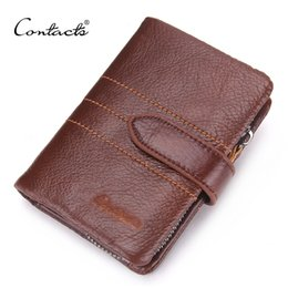 Wholesale Holder Class - Wholesale- CONTACT'S Men Wallet 100% Genuine Leather Wallet Delectable Zip Coin Pocket Men Purse High Class Money Bag Credit Card Holders