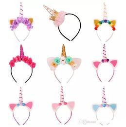 Wholesale Halloween Tiaras - Baby Fashion Unicorn Tiaras for Festival Halloween Lovely Cat Ears Girls Hair Sticks Kids Hair Bow Headband