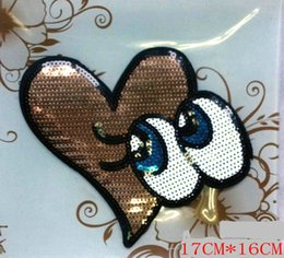 Wholesale Decorative Iron Patches - Free delivery, beads, sequins embroidered, clothing accessories, decorative clothing patches, love eyes, T-Shirts, sweaters, ironing, 17CM*1
