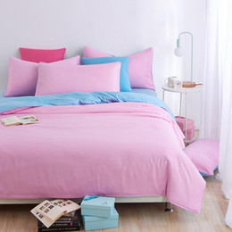 chinese quilt covers Promo Codes - Wholesale- 100% Polyester duvet cover set bedding set 4pcs solid blue pink bed quilt double linen set pillowcase brief style