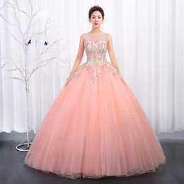 Wholesale Pattern Pictures - Pink Blue Cheap Prom Dresses Long SSYFashion Elegant Sleeveless Floor-length Flowers Pattern Quinceanera Dress Plus Size Ball Gown Custom