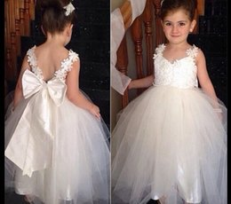 Wholesale Braces Wedding Dress - bow princess wedding gown children brace girl ball gown kids backless puff dress child girls tutu dress show hostess costumes