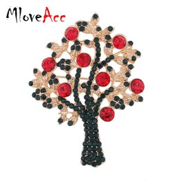Wholesale Hijab New Design - Wholesale- MloveAcc New Design Rhinestone Green Tree Christmas Brooches for Women Wedding Bouquets Collar Clip Scarf Buckle Hijab Pins