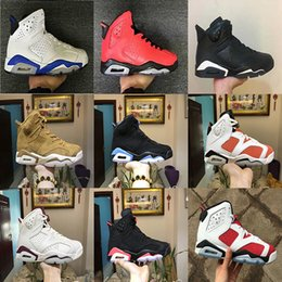 Wholesale Golden Beige - (WithBox) AAA+ quality air retro 6 Golden Harvest Wheat Gatorade unc men Basketball Shoes black cat Infrared Carmine MAROON sports Sneakers