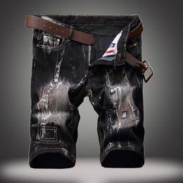Wholesale Men Jeans Paints - 28-42 Big Size straight jeans Paint jeans men Ripped Jean Pants Adult Black Trousers Male Vintage short denim Jeans free belt