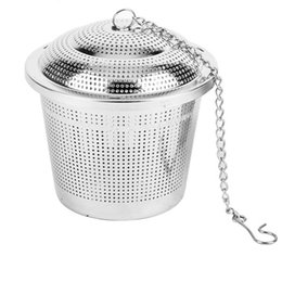Wholesale Wholesale Teapots Accessories - New Tea Infuser Stainless Steel Pot Set Infuser Sphere Mesh Tea Strainer Handle Ball Teapot Accessories 15x