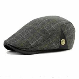 Wholesale French Artist Hat - Wholesale-Men Casual Cap Wool Berets for Men Women Winter Warm Newsboy Classic Plaid Flat Grey Khaki Black French Artist Hat