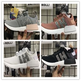 Wholesale Womens Sequin Shoes - Wholesale New Womens NMD R1 Sequins Triples Runner Primeknit Grey Pink Black White NMDS Running Shoes Training Sneaker Nmd Shoes For mens