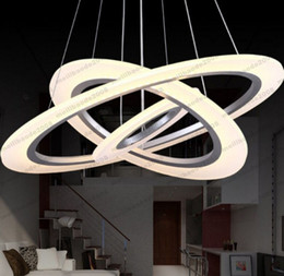 Wholesale Big Halls - 2017 dimming control LED Modern Design Dimmable Led Pendant Light 3 big ring: 80 cm central: 60 cm little ing :40cm Rings Frosted Acryli MY