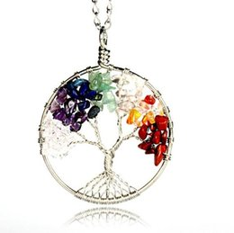 Wholesale Gemstone Flower Pendant - 12pcs Tree of life pendant Amethyst Rose Crystal Necklace Gemstone Chakra Jewelry Mothers Day Gifts