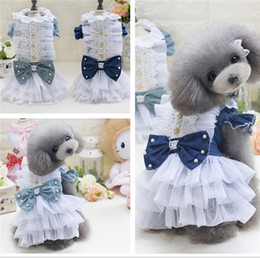 Wholesale Dog Cowboy Costumes - Puppy Dog British Style Cute Dog Dress Cowboy Beautiful Clothes