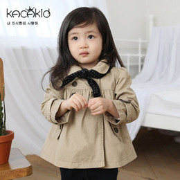 Wholesale Doll Hoods - Girls Coats Children Clothing Wind Dust Coat Baby Doll Collar Windbreaker Double Breasted Jacket + Dots Triangle scarf Outwear Tops A5914
