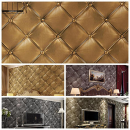 Wholesale Pvc Leather Rolls - Wholesale-3D PVC vinyl simulation of soft luxurious leather wallpaper roll bedroom living room TV background pvc wallcovering