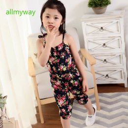 Wholesale Black Baby Twins - Hot sell 2017 Girls Pants Floral cotton Siamese Shorts Girls Conjoined twins pants baby jumpsuit girls Cotton flower jumpsuit for 2-7T