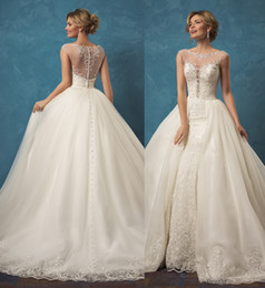 Wholesale Design Chic - Gorgeous Wedding Dresses Hot Sale 2016 Design Scoop Neck Court Train Belt Chic Rustic Beach Country Bridal Gown