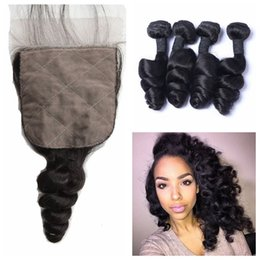 Wholesale Russian Remy - Unprocessed Human Hair Vrigin Remy Loose Wave Hair Bundles With Silk Base Closure Peruvian Virgin Hair Extensions No Shedding G-EASY