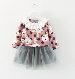 Wholesale Girl Down Set - Lovely Girls Bunny Tops+Tutu Skirts Set 2017 Fall Kids Boutique Clothing Korean Little Girls Lace Collar T-Shirts+Tulle Skirts Outfits